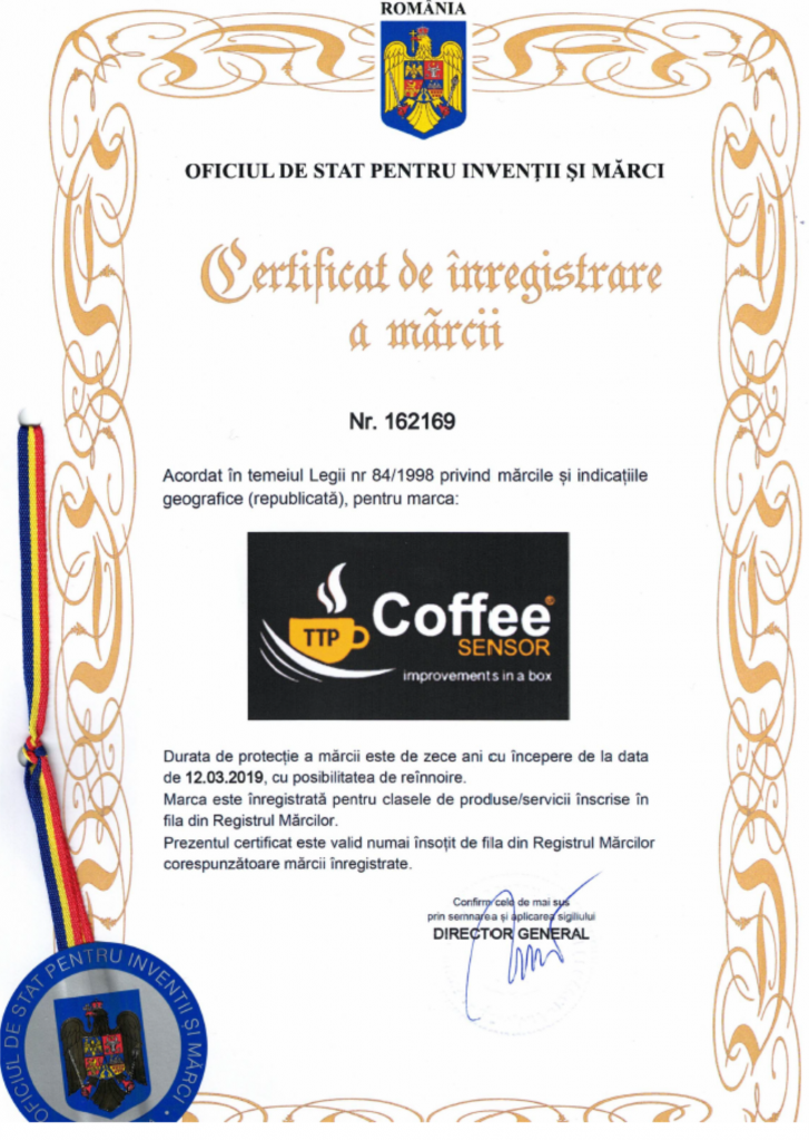 Coffee sensor registered trade mark certificate